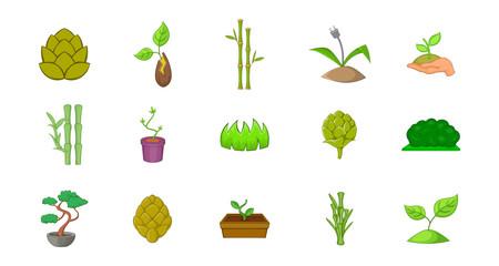 Plant icon set, cartoon style