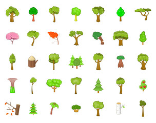 Tree icon set, cartoon style