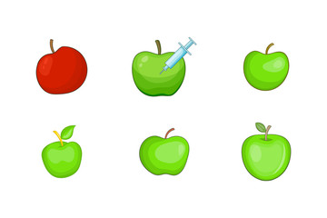 Apple icon set, cartoon style