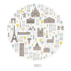 Paris in round frame. Vector sketch illustration