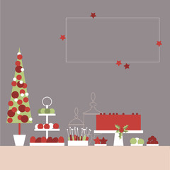 Christmas sweet table with cake and sweets. Candy Buffet. Vector illustration.