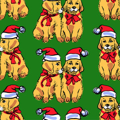 New year seamless pattern with puppies. Vector hand drawn graphic illustration.