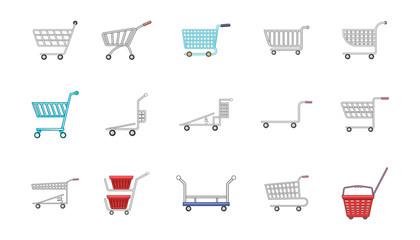 Shop cart icon set, cartoon style