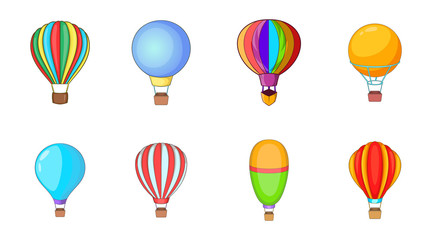 Airballoon icon set, cartoon style