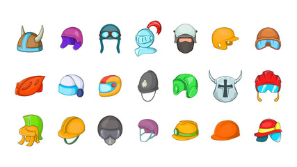 Helmet icon set, cartoon style