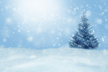 Beautiful winter background. Blurred winter landscape with bokeh.