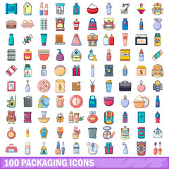 100 packaging icons set, cartoon style