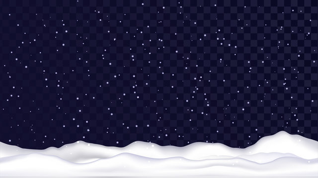 Seamless snowy landscape, snow on a transparent background