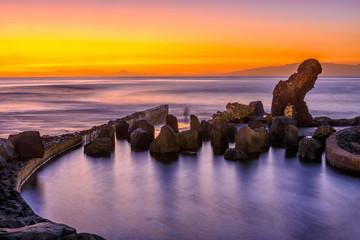 Sunset ocean landscape, Playa de la Americas on Tenerife, Canary Islands, Spain