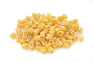 pasta ditalini on white background