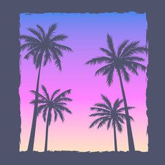 Illustration with a setting sun and silhouettes of palm trees.