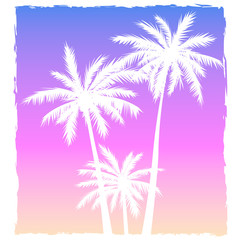 Illustration with a setting sun and silhouettes of palm trees
