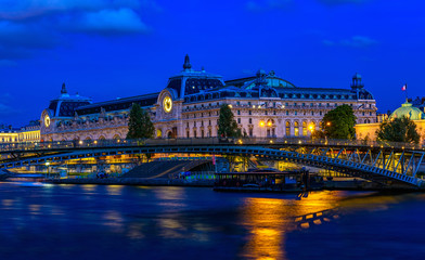 Night view of Orsay Museum (Musee d'Orsay) in Paris, France