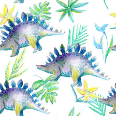 Seamless pattern of a dinosaur and plants.Picture of a jungle.Watercolor hand drawn illustration.White background.