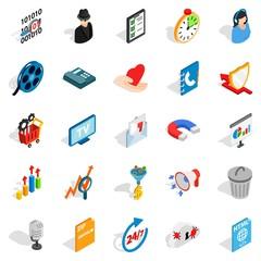 Development of ad icons set, isometric style