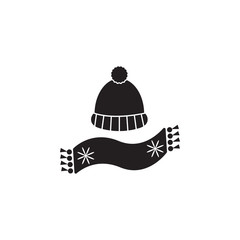 hat with pompon and scarf icon