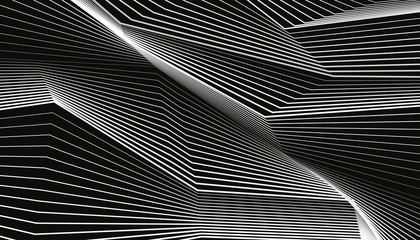 Designs of white lines on a black background. Abstract waves. Vector elements for you projects