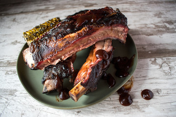 smoked beef spareribs with bbq and corn
