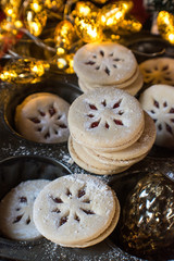 Christmas Linzer shortbread cookies with jam filling