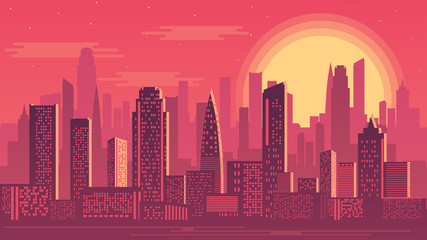 Vector illustration of sunset city