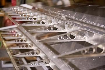 Airplane wing ribs. Aluminium parts macro.