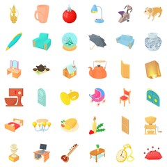 Home interior icons set, cartoon style