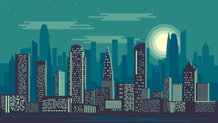 Vector illustration of night city