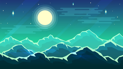 Vector wallpaper with a night landscape, a mountain range