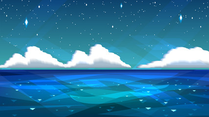 Illustration with sea or ocean, night