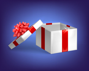 Open gift, gift box with bow