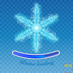 Snowflake vector. Snowflake isolated on blue background.