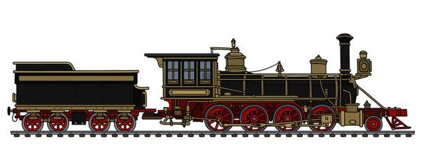 Classic black american wild west steam locomotive
