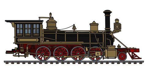 Vintage black american wild west steam locomotive