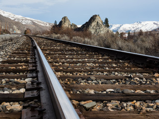 Railroad tracks running along the Columbia river valley north of Wenatchee, Eastern Washington state