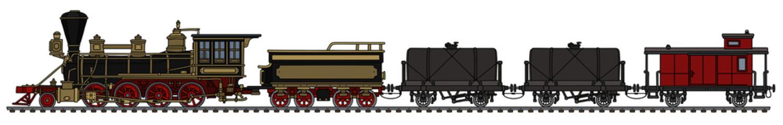 Vintage american wild west freight steam train