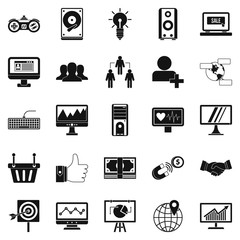 Social icons set, simple style