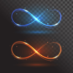 Blue and orange signs infinity or a rings of fire