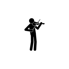 Man plays on violin icon. Silhouette of a musician icon. Premium quality graphic design. Signs, outline symbols collection icon for websites, web design, mobile app