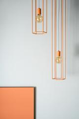 Hanging orange edison lamps