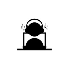 man listening music with headphones and a laptop icon. Silhouette of a musician icon. Premium quality graphic design. Signs, outline symbols collection icon for websites, web design