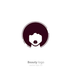 Salon logo. For women with dark skin. Afro hairstyles beauty logotype