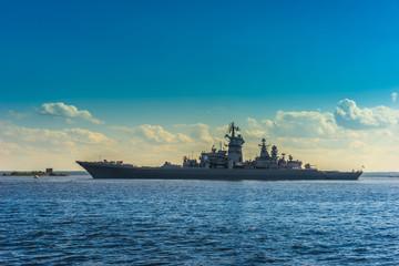 A warship on the horizon. Rocket cruiser.