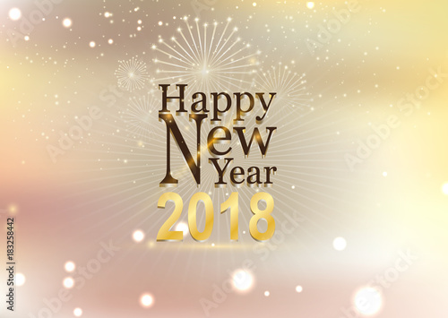 Happy new year and fire work soft gold background\