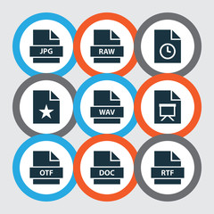 File icons set with special, document, timer and other education  elements. Isolated vector illustration file icons.