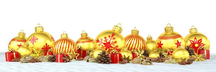 Weihnachten - Weihnachtskugeln, Christbaumkugeln, Anis, Sternanis, Zimt, Zimtstangen, Walnüsse, Geschenke, Schnee