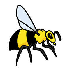 Cartoon Bee or Wasp or Hornet Vector Illustration