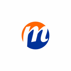 M Letter Initial on Circle Shape Logo vector