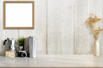 Mock up desk space concept, Workspace with designer's supplies , camera on white marble desk.