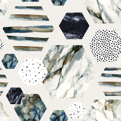 Wall Murals Graphic Prints Watercolor hexagon with stripes, water color marble, grained, grunge, paper textures.