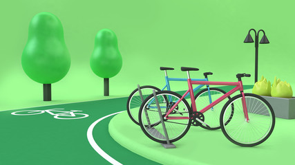 3d rendering bike-bike lane green nature parks tree cartoon style transportation city environment concept